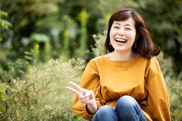 Portrait of happy Japanese ...