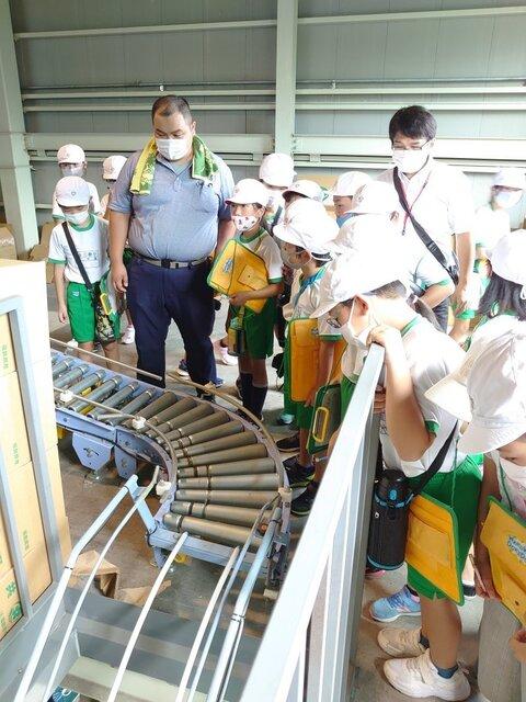 箱に詰められたピーマンがベルトコンベアで運ばれていく様子を眺める児童ら