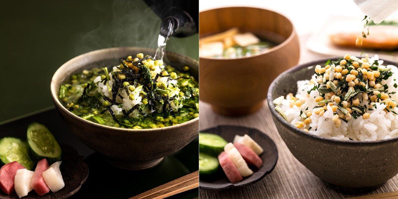 一度は食べたい、抹茶のお茶漬けと碾茶のふりかけが誕生。一番摘み茶葉の色鮮やかな濃緑が白いご飯に映えて、美しい一膳が食卓に。