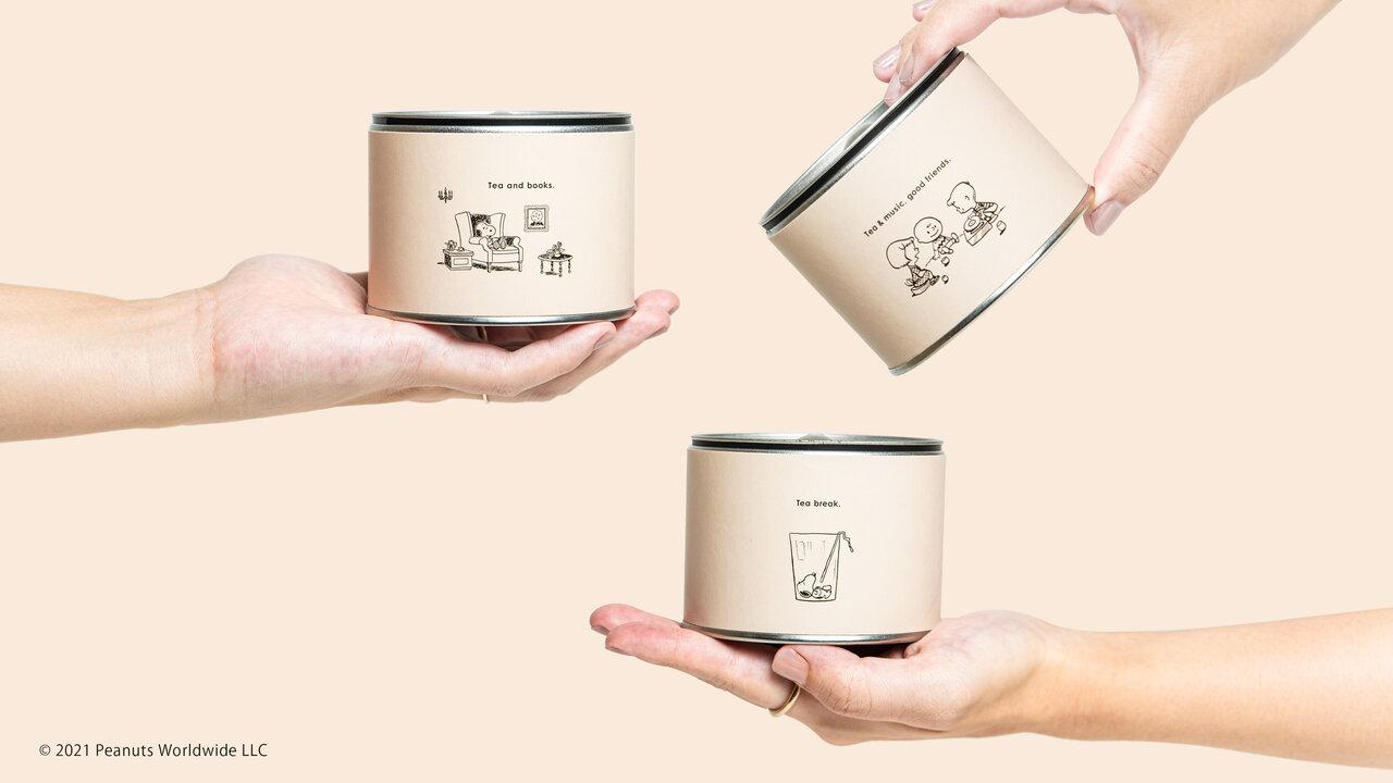 【煎茶堂東京】「PEANUTS」との限定コラボ茶缶第二弾。今年はシングルオリジン煎茶、ほうじ茶、玄米茶の3種類。読書したり、コップの中でくつろぐスヌーピーのイラストも!