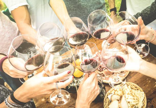 友人手トースト赤ワイン グラス楽しんで屋外ワインテイス...