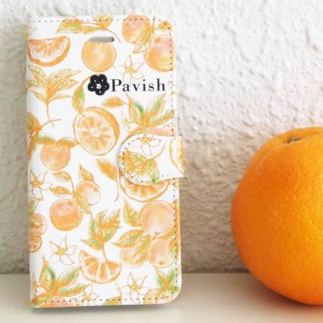 オレンジ柄の手帳型スマホケース