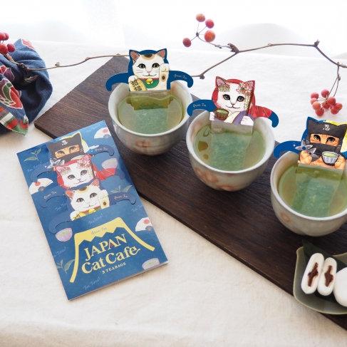 """日本の伝統的なキャラクターに扮したネコ達が集合! 招き猫、舞妓猫、忍者猫と一緒にほっこり緑茶ティータイムはいかがですか? 初の""""和""""テイスト・キャットカフェシリーズ「ジャパンキャットカフェ」発売"""