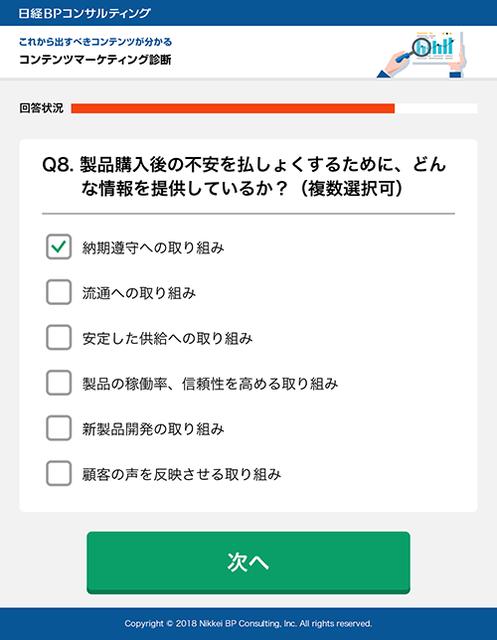コンテンツマーケティング診断」の設問の画面イメージ(開発中)