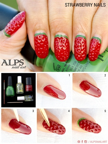 Strawberry Nails by Alpsnailart - Nail Art Gallery Step-by-Step Tutorial Photos (5691)