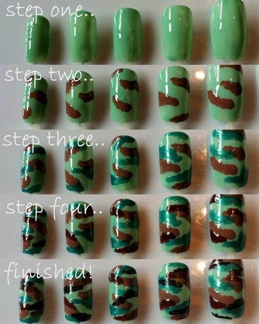 DIY Camouflage Nail Art