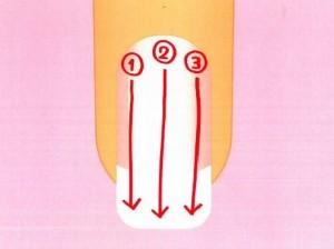 パール(ラメ)タイプのマニキュアは端から塗る