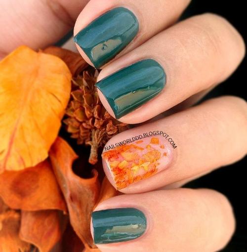 秋のニュアンス◎落ち葉ネイル