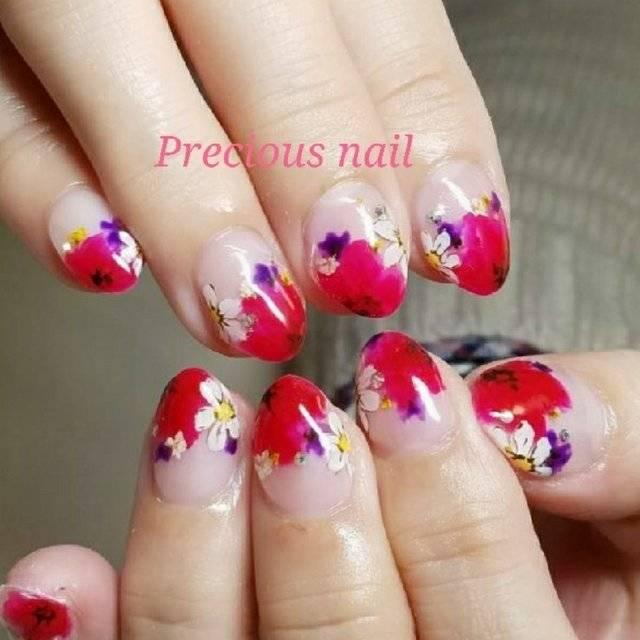 春/ハンド/変形フレンチ/フラワー/ショート - precious_nail315のネイルデザイン[No.2973982]|ネイルブック (20303)