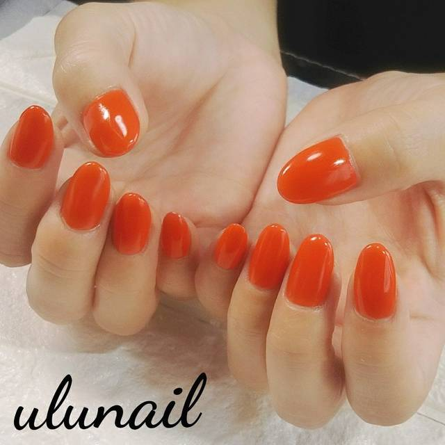 41.ジューシーオレンジワンカラーネイル