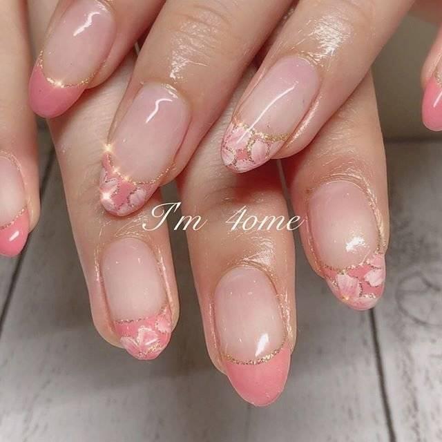9.桜ピンクフレンチネイル