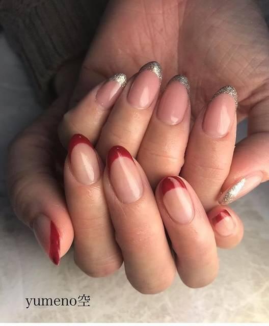 29.赤×シルバーラメフレンチネイル