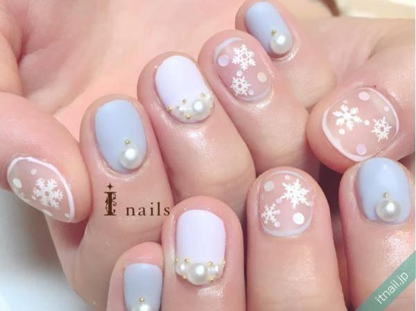 48.雪の結晶×パステルネイル