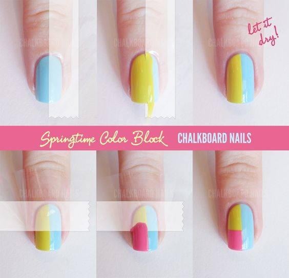 Sally Hansen Spring Color Block Tape Manicure (+ Tutorial) | Tape/Vinyl Manicures | Nail Art, Nail art diy, Nail art blog (36774)