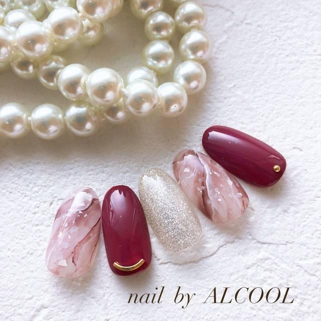 30.ボルドー×ピンクの天然石ネイル