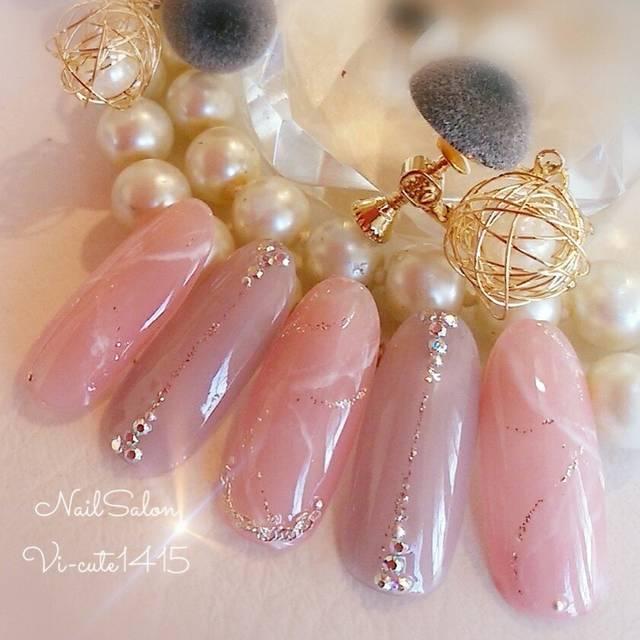 43.ローズクウォーツ風ピンクの天然石ネイル