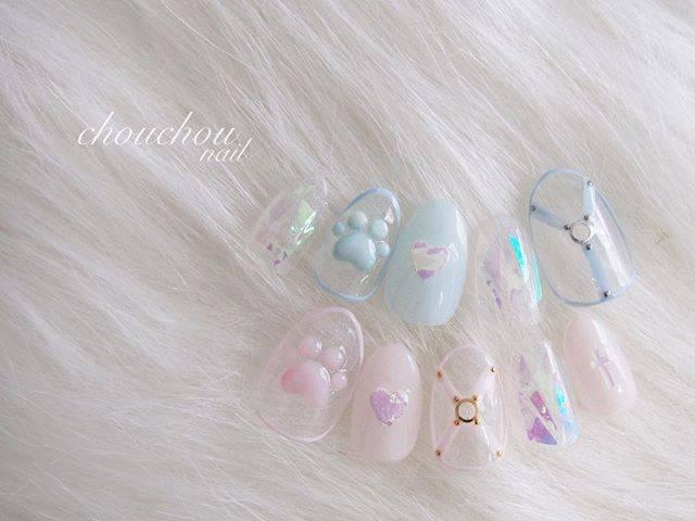 """chouchou nail💕GOTO on Instagram: """". ♡Cコース♡ パステルハーネス🐾 ハードになりすぎなくておすすめです💕 . ご予約、お問い合わせはDMまたは LINE@(@bqc5166m)からお願い致します♡ 予約の仕方、詳しい料金メニューなどは プロフィールのHPをご覧ください👶🏻💓 . #nail #nails…"""" (20274)"""