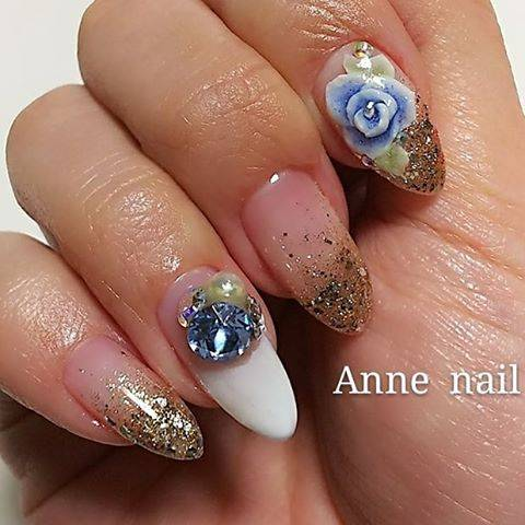 "Private salon  Anne nail on Instagram: ""結婚式およばれネイル🌹✨ #gel #gelnail #gelnails #nail  #nailart  #nailstagram  #ジェル #ジェルネイル  #ネイル #ネイルアート  #結婚式およばれネイル #ブライダルネイル  #エンボスアート #大人ネイル…"" (20463)"