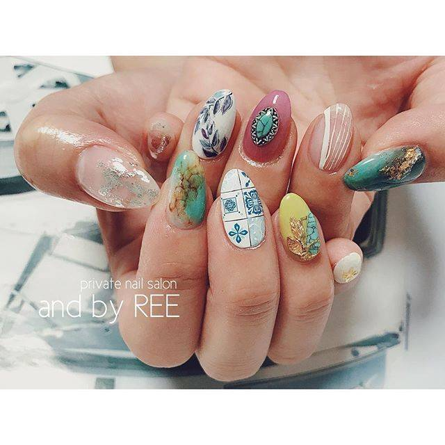 """nail and by REE《滋賀県守山市ネイルサロン》 on Instagram: """"・ ・ ・ おまかせart😆 私っぽくイメージww ・ ・…"""" (20891)"""