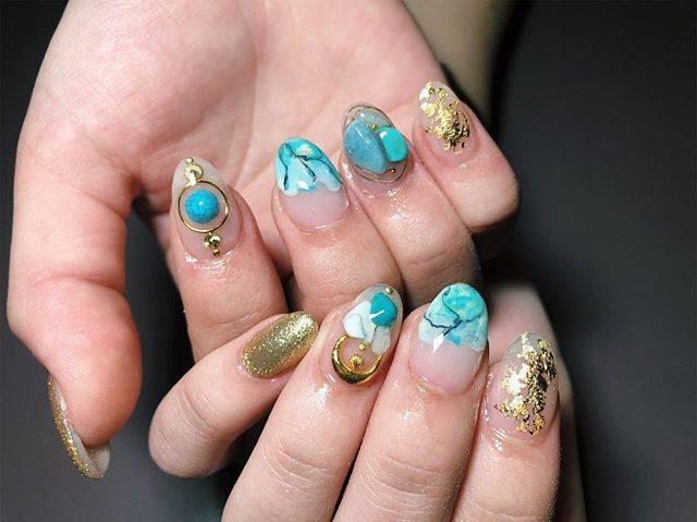 """ayana on Instagram: """"0521 (Mon) ・ new nail 💅🏽💅🏽💅🏽 ・ 好きなようにさしてもらって めちゃめちゃお気に入り!💙✨ ・ #0521 #Monday #new #nail #owlnail #ターコイズ #ターコイズネイル #turquoise #cute #favorite…"""" (20894)"""