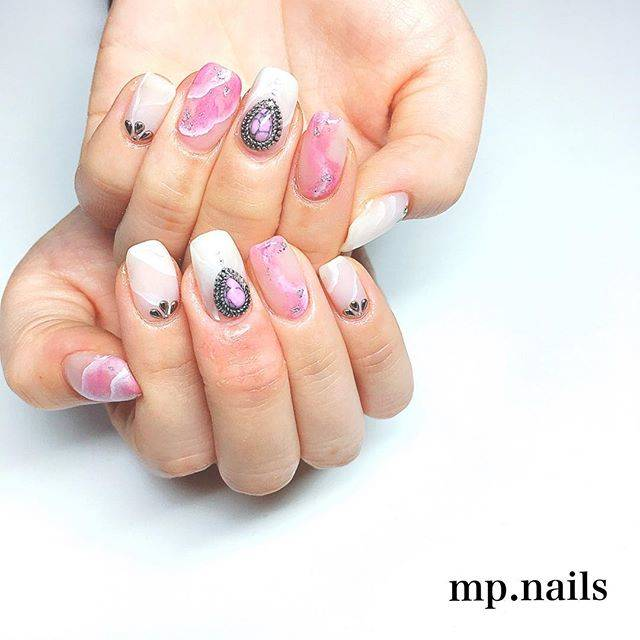 "mpnails on Instagram: ""* #nail#nails#nailstagram#gel #gelnails#Instanail #ネイル #ネイルアート #ジェルネイル  #自宅ネイルサロン #ネイルデザイン #スクエアネイル #ピンク #ピンクネイル  #大理石ネイル  #ターコイズネイル…"" (20907)"