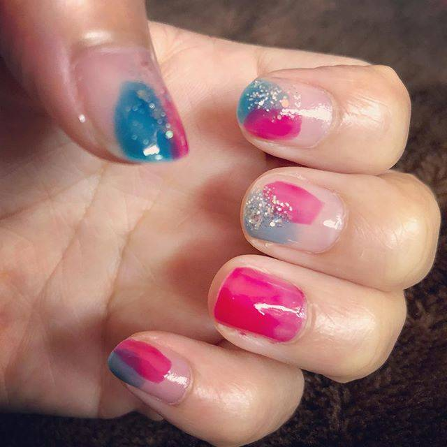 "❄︎Yuki on Instagram: ""初塗りかけネイル💅#塗りかけネイル #ぬりかけネイル #summernails #summeriscoming #summer #nailart #nailstagram #nails #nail"" (21021)"