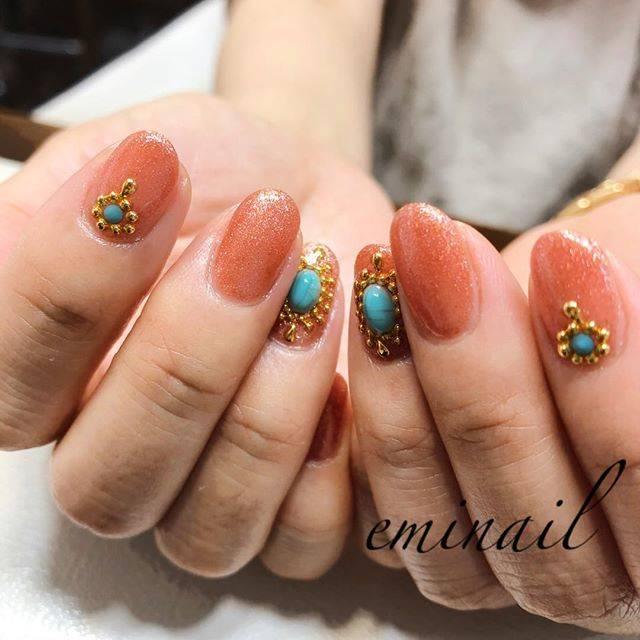 39.オレンジ × ターコイズネイル