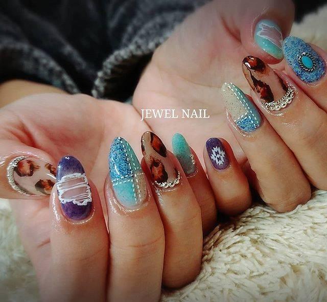 "Kaori Tomioka on Instagram: ""デニム♥️ レオパード♥️ もりもりー!  #jewelneil…"" (24500)"