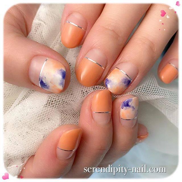 10.ハーフフレンチオレンジマーブルネイル