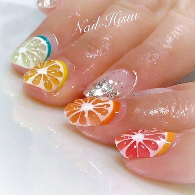 33.カラフル柑橘フルーツネイル