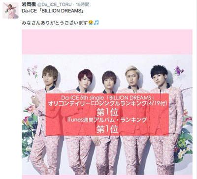 [News] 1位獲得!「BILLION DREAMS」オリコンデイリーCDシングルランキング(4/19付)
