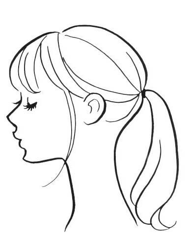 ---〈1〉おくれ毛を残して耳の高さで結ぶ
