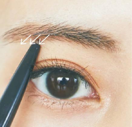 ---【足りない毛を描いて眉下ラインを整える】