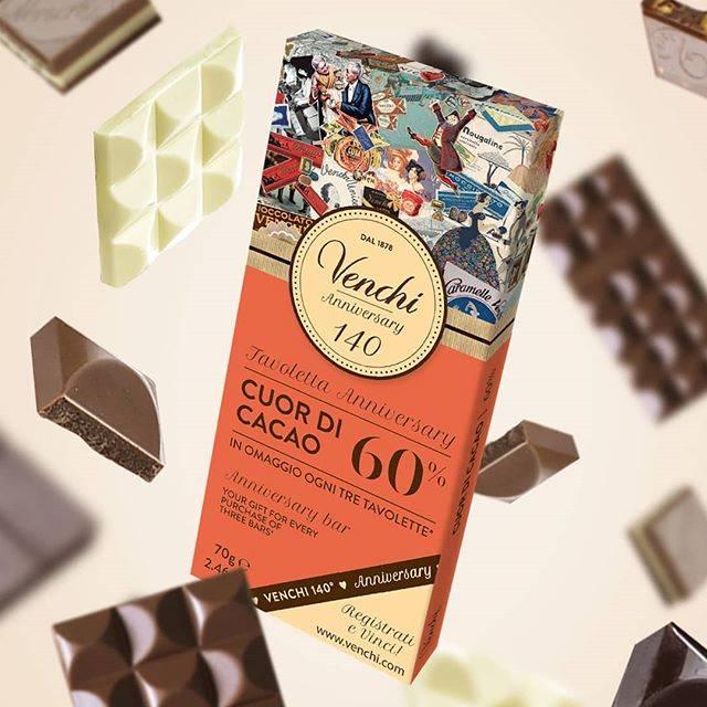 """Venchi 1878 on Instagram: """"Festeggia con noi i nostri 140 anni! Ogni tre tavolette di cioccolato acquistate, in omaggio* 1 tavoletta Anniversary. *Prodotto ceduto a…"""" (378426)"""