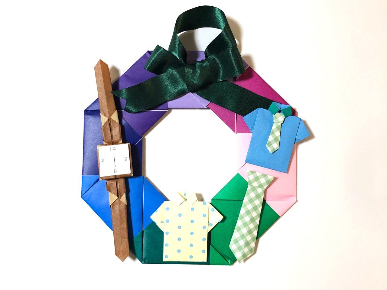 「パパありがとう」が伝わる父の日リース!親子で作れる折り紙工作