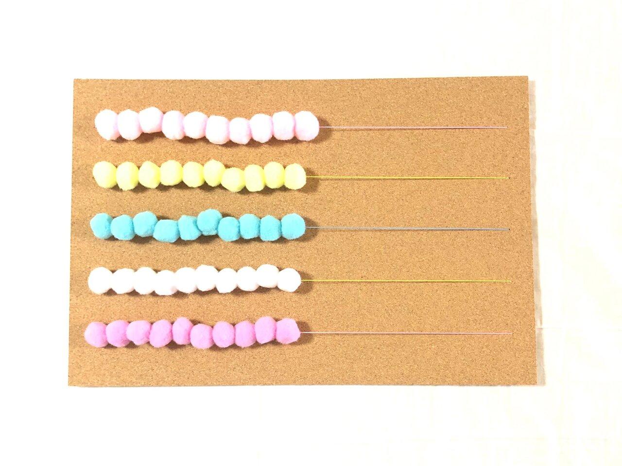 50玉そろばんで数字遊び!100均素材のぽんぽんで作る知育アイテム