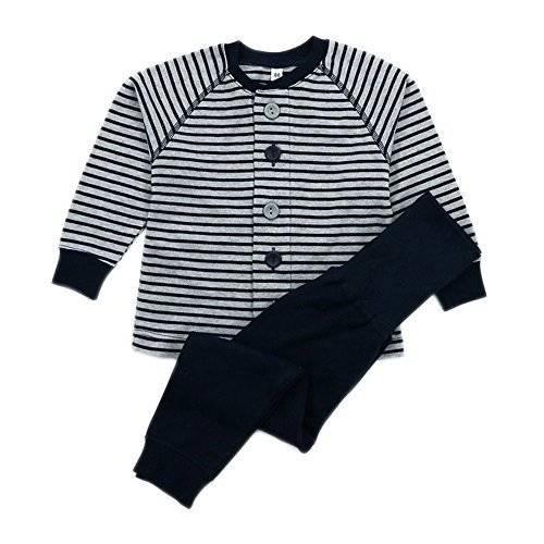 DWSIOOW 1~3歳キッズベビーパジャマ ルームウェア 前開き上下2点セットアップ 長袖 長パンツ 腹巻き付き