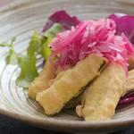 カジキマグロと野菜のセモリナフリット〜赤玉ねぎのマリネ添え | Sapore di Junta