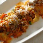 肉の旨味がギュッ!ラザニエッテ - サルシッチャとブロッコリーのトマトソース