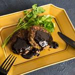お酒と一緒に♪黒オリーブとバルサミコ酢でグッ‼︎と大人な味になった黒オリーブ入りハンバーグ