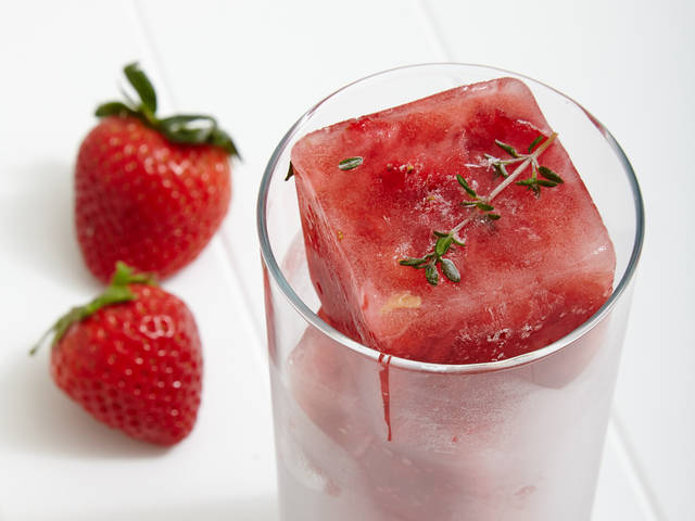 strawberry and thyme ice cubes in a glass next to strawberries | Flickr - Photo Sharing! (4925)