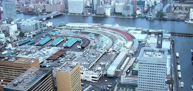 上空から見た、築地市場