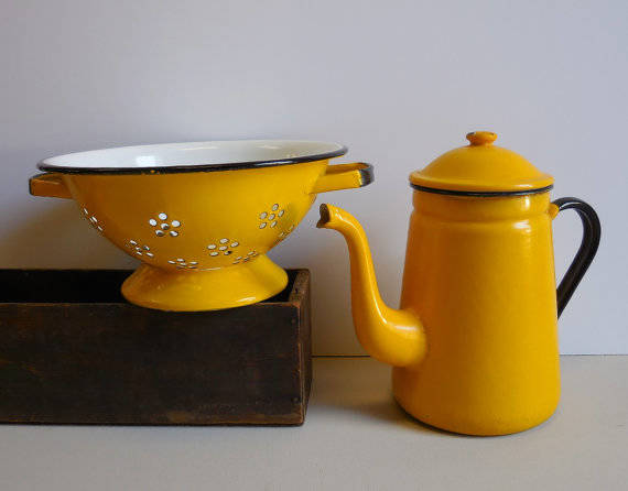Vintage Coffee Pot and Colander Enamelware Bright by SalvageRelics (15246)