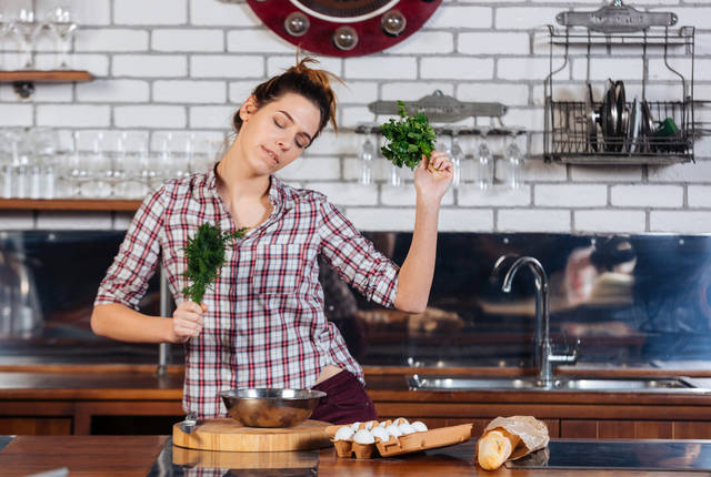 Happy Beautiful Young Woman With Dill And Parsley Dacing On The Kithen Stock Photo 410742295 : Shutterstock (30517)