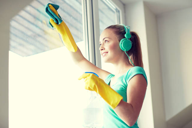 Happy Woman With Headphones Cleaning Window Stock Photo 369156200 : Shutterstock (30518)