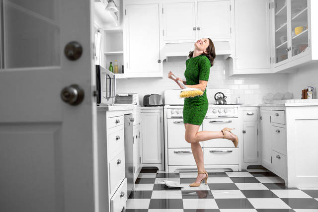 Dancing And Singing While Cleaning Sweeping Kitchen Floor Fun Spirited Joyful Attitude Chores Stock Photo 375051994 : Shutterstock (30519)