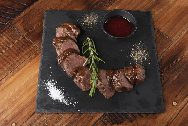 Grilled Venison Slices With Rosemary And Sauce. Wooden Background. Stock Photo 495930331 : Shutterstock (30532)