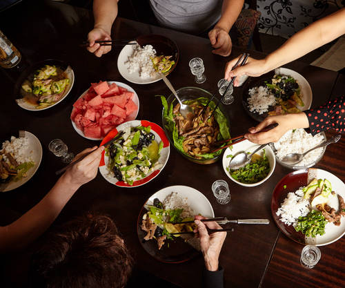 Dinner With Friends At The Table. View From Above. Chinese Food With Chopsticks. Fish, Meat, Pork, Potatoes. Stock Photo 476067124 : Shutterstock (30543)