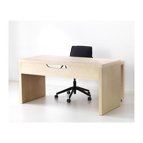 MALM デスク 引き出し式パネル付 - バーチ材突き板  - IKEA (1100)