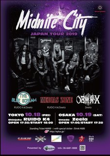 英グラム・メタル・バンド TIGERTAILZのフロントマン、ロブ・ワイルド<Vo>率いるメロディック・ハードロック・バンド、MIDNITE CITY来日公演